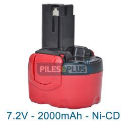 Batterie pour Bosch type 2607335587 - 7.2V NiCD 2000mAh