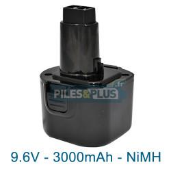 Batterie compatible pour Dewalt DE9036 - NiMh 9.6V - 3000mAh
