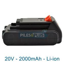 Batterie pour Black et Decker type LBXR20 - 18V Li-Ion 2000mAh