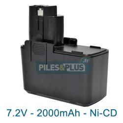 Batterie pour Bosch type 2607335031 - 7.2V NiCD 2000mAh
