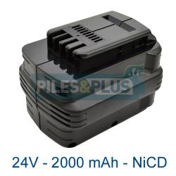 Batterie type Dewalt DE0240 - 24V 2000mAh NiCD