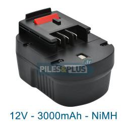 Batterie pour Black et Decker type A12 - 12v NiMH 3000mAh