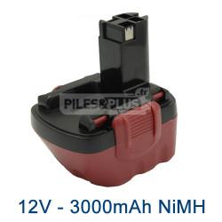 Batterie pour Bosch type 2607335692 - 12V NiMH 3000mAh