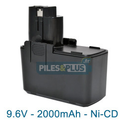 Batterie pour Bosch type 2607335152 - 9.6V NiCD 2000mAh
