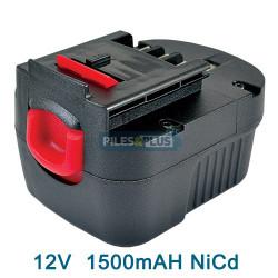 Batterie pour Black et Decker type A12 -12V NICD 1500 mAh