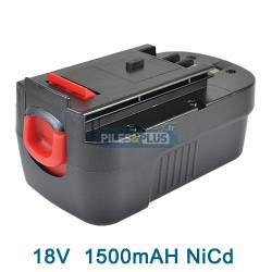 Batterie pour Black et Decker type A18 - 18V NICD 1500mAh