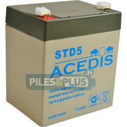Batterie 12V 5Ah - batterie plomb étanche rechargeable Acedis