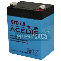 Batterie 12V 3,2Ah - batterie plomb étanche rechargeable Acedis