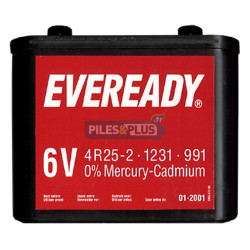 Pile saline 6V plastique pour phare - porto 825 / 4R25-2 - Eveready