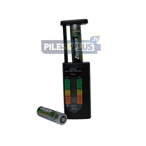 Testeur de Piles Digital - pour Toutes Piles et Accus de 1,5V et 9V