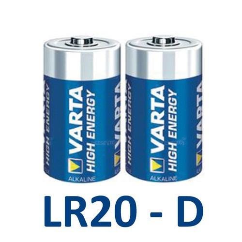 Piles Alcalines D LR20 Varta High Energy 1,5V - par 2