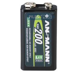 Pile rechargeable 9V NIMH - accu 9V HR622 200mAh Ansmann - par 1