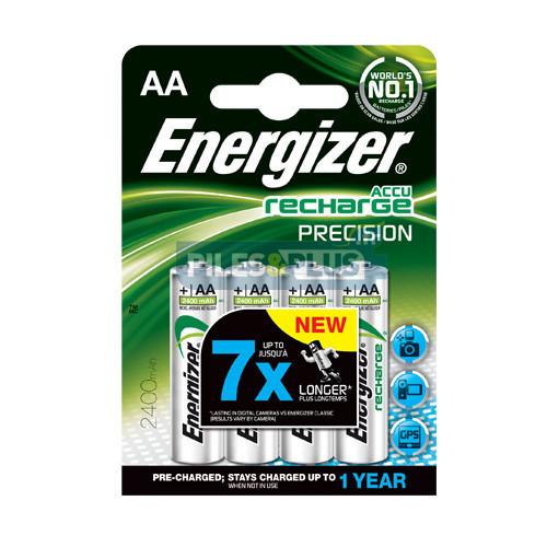 Piles rechargeables AA préchargées Energizer Precision 2400mAh par 4