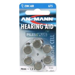 Pile auditive PR44 - pile zinc-air 675 Ansmann - par 6