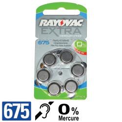 Piles auditives PR44 - Pile zinc-air 675 Rayovac - 0% Mercure - par 6