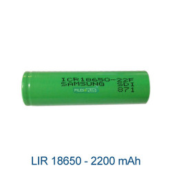 Batterie LIR18650 - 3,7v Li-ion SAMSUMG - tête plate sans PCB