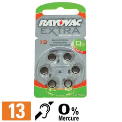 Pile auditive 13 - Pile zinc-air PR48 - Rayovac - 0% Mercure - par 6
