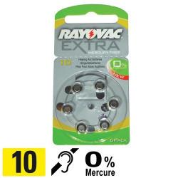 Piles auditives PR70 - Pile zinc-air 10 Rayovac - 0% Mercure - par 6