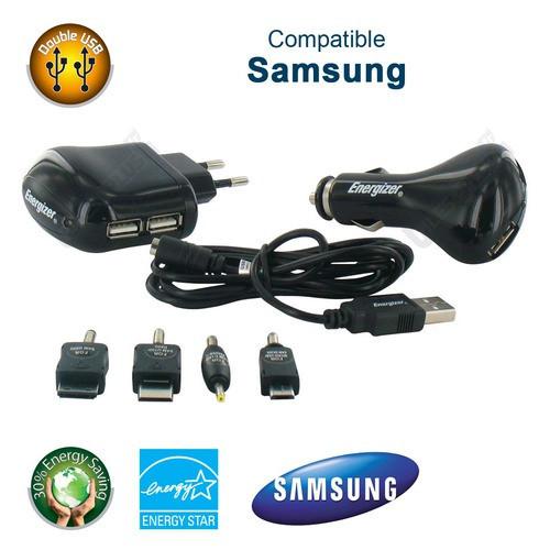Chargeur Energizer 3 en 1 2USB Allume-cigare pour téléphone Samsung