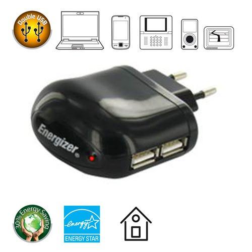 Adaptateur Energizer Prise Secteur - 2 USB en sortie