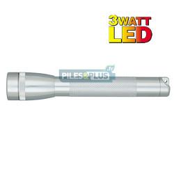 Lampe Mini Maglite LED 3 watts Argent + 2 AA LR06