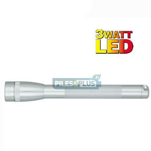 Lampe Mini Maglite LED 3 watts Argent + 3 AA LR06