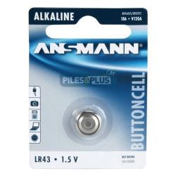 Pile bouton LR43 - V12GA - pile alcaline 186 Ansmann 1,5V - par 1