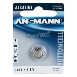 Pile bouton LR44 - V13GA - pile alcaline A76 Ansmann 1,5V - par 1